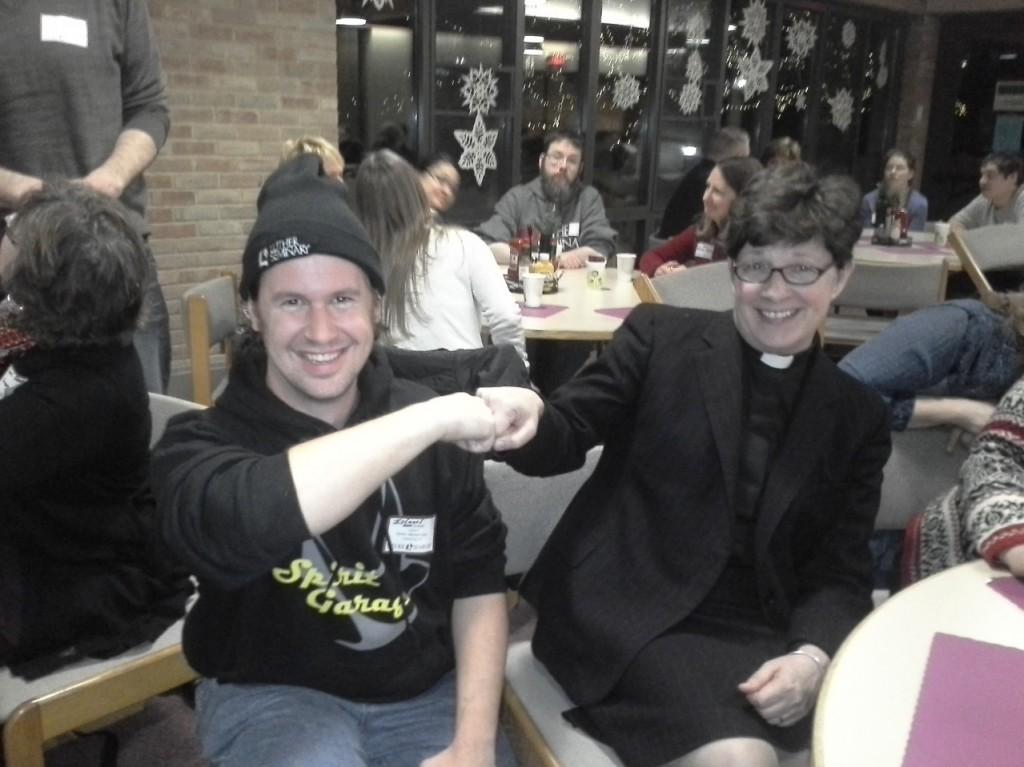 Fist bump with Elizabeth Eaton, Presiding Bishop of the ELCA